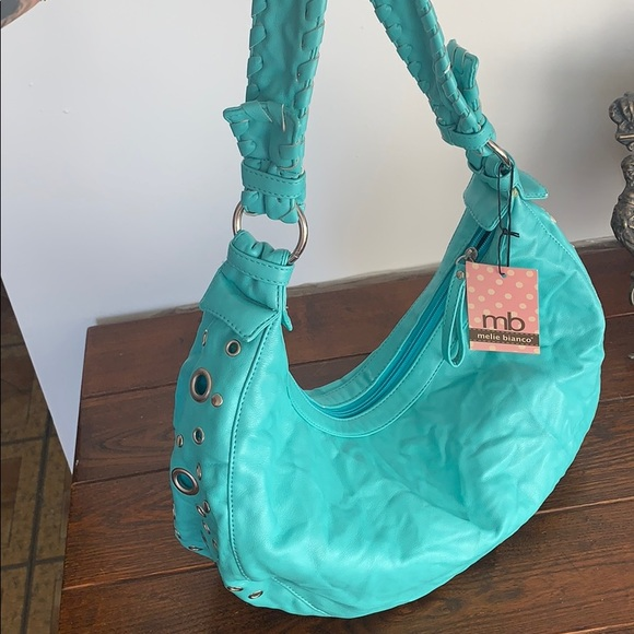 Turquoise vegan leather bag with silver rivets